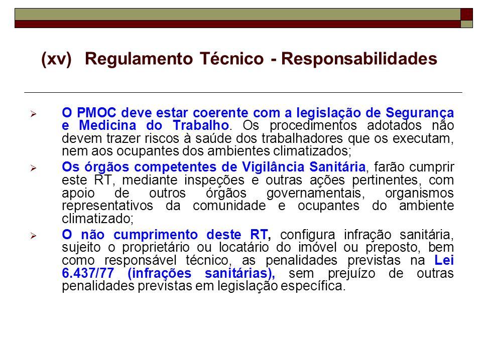 (xv)Regulamento Técnico - Responsabilidades O PMOC deve estar coerente com a legislação de Segurança e Medicina do Trabalho. Os procedimentos adotados