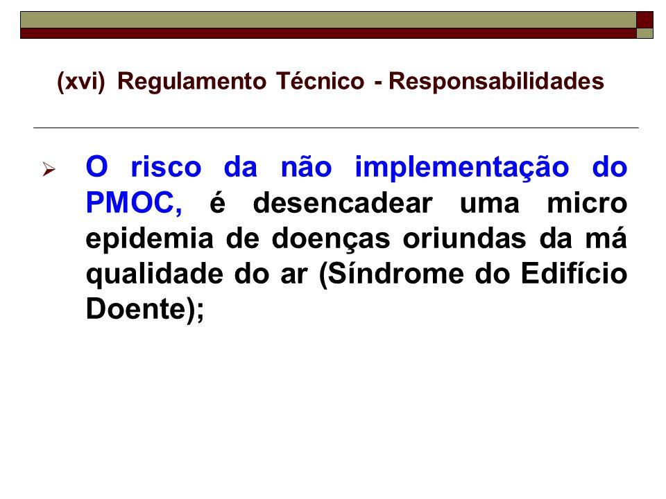 (xvi)Regulamento Técnico - Responsabilidades O risco da não implementação do PMOC, é desencadear uma micro epidemia de doenças oriundas da má qualidad