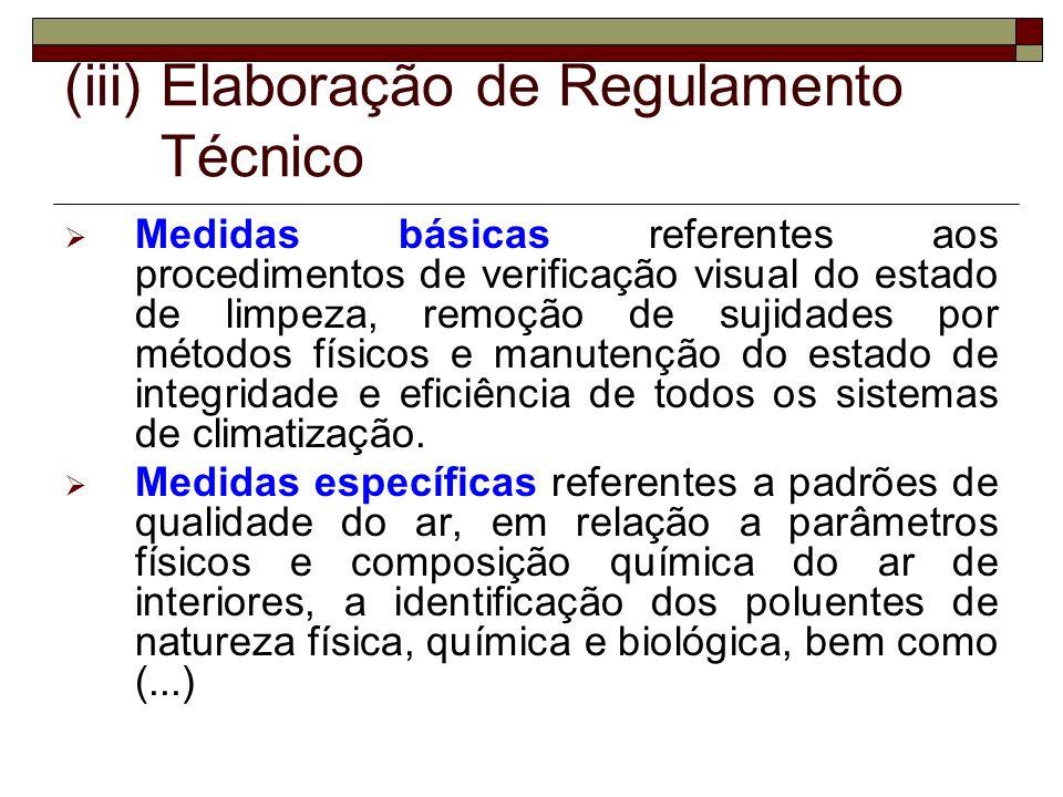 (iii)Elaboração de Regulamento Técnico Medidas básicas referentes aos procedimentos de verificação visual do estado de limpeza, remoção de sujidades p