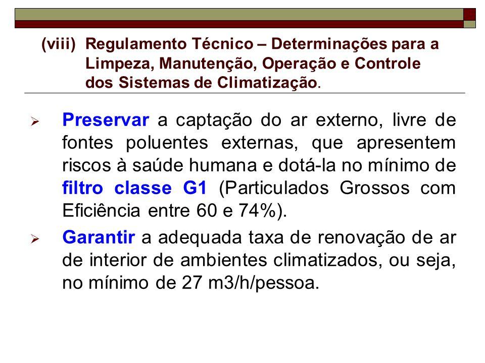 (viii)Regulamento Técnico – Determinações para a Limpeza, Manutenção, Operação e Controle dos Sistemas de Climatização. Preservar a captação do ar ext