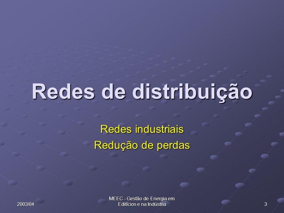 2003/04 MEEC - Gestão de Energia em Edifícios e na Indústria 3 Redes de distribuição Redes industriais Redução de perdas