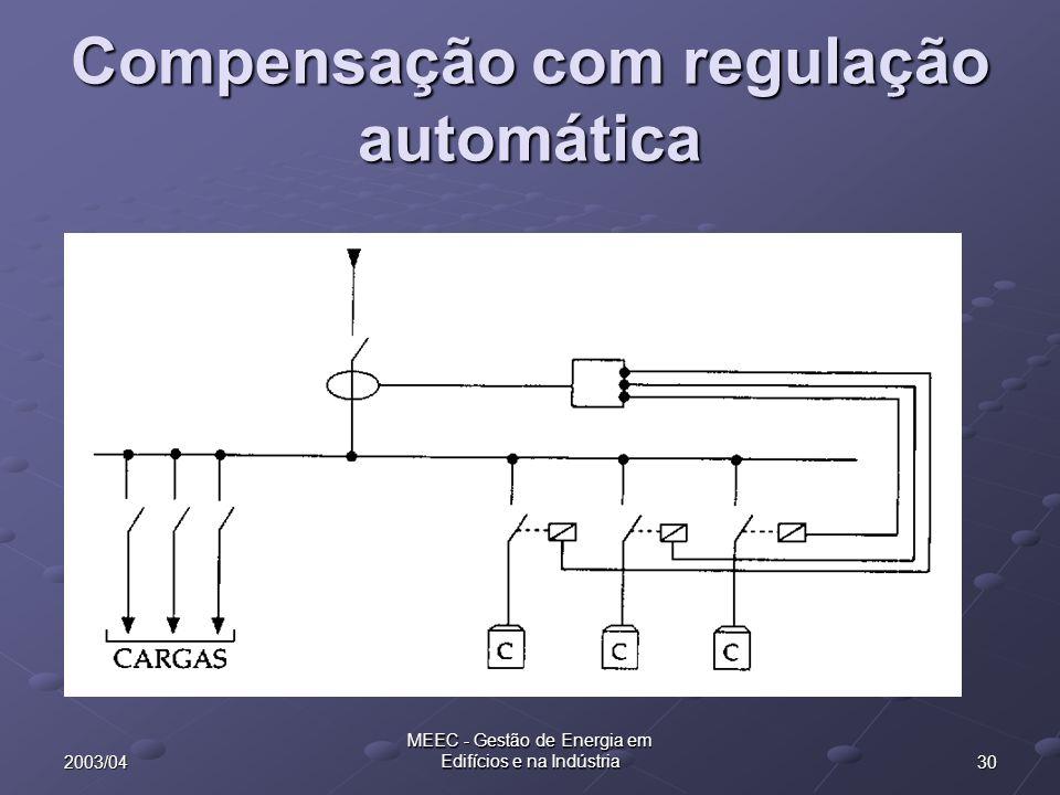 302003/04 MEEC - Gestão de Energia em Edifícios e na Indústria Compensação com regulação automática