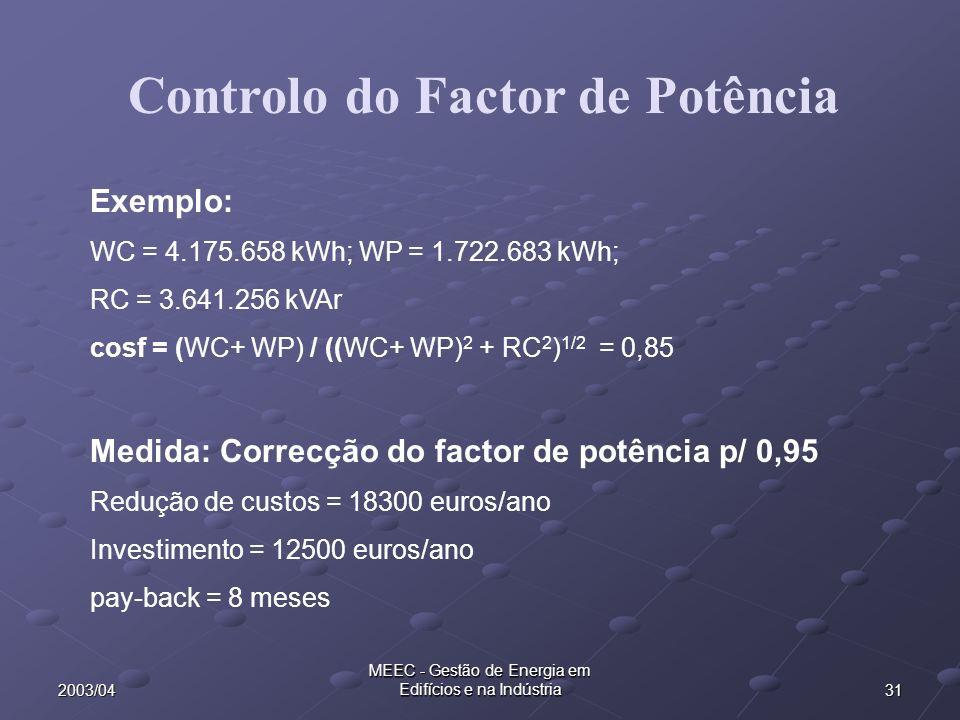 312003/04 MEEC - Gestão de Energia em Edifícios e na Indústria Exemplo: WC = 4.175.658 kWh; WP = 1.722.683 kWh; RC = 3.641.256 kVAr cosf = (WC+ WP) / ((WC+ WP) 2 + RC 2 ) 1/2 = 0,85 Medida: Correcção do factor de potência p/ 0,95 Redução de custos = 18300 euros/ano Investimento = 12500 euros/ano pay-back = 8 meses Controlo do Factor de Potência