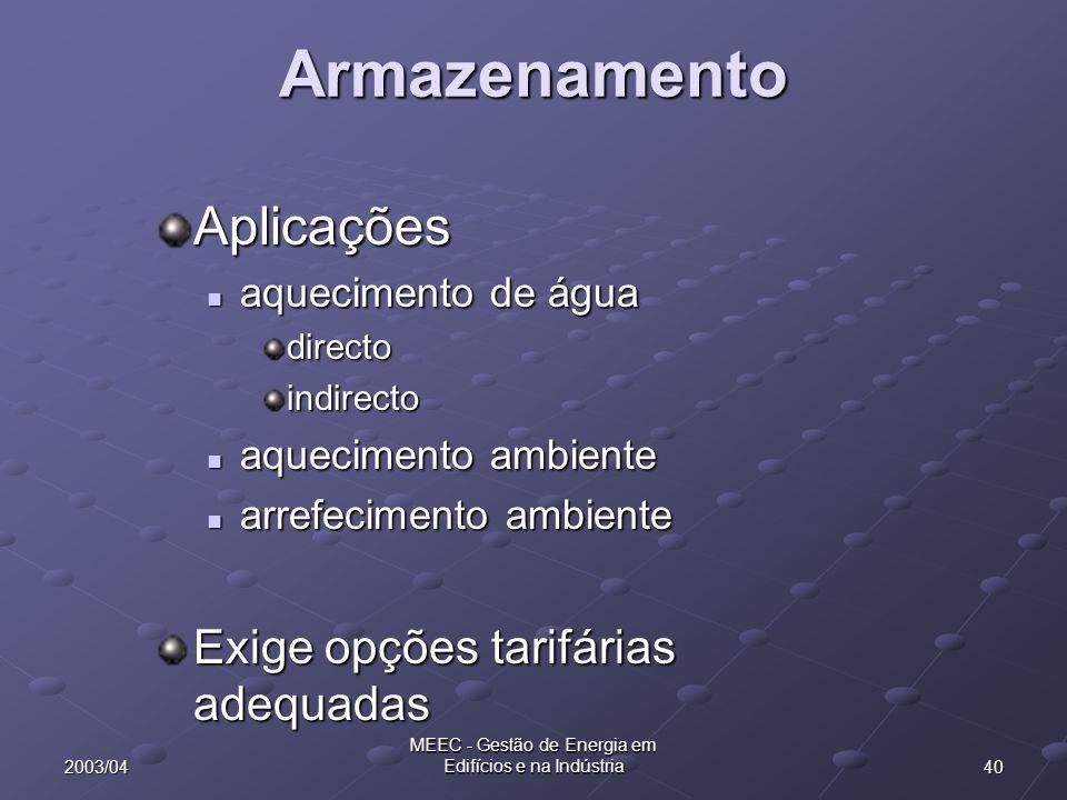402003/04 MEEC - Gestão de Energia em Edifícios e na Indústria Armazenamento Aplicações aquecimento de água aquecimento de águadirectoindirecto aquecimento ambiente aquecimento ambiente arrefecimento ambiente arrefecimento ambiente Exige opções tarifárias adequadas