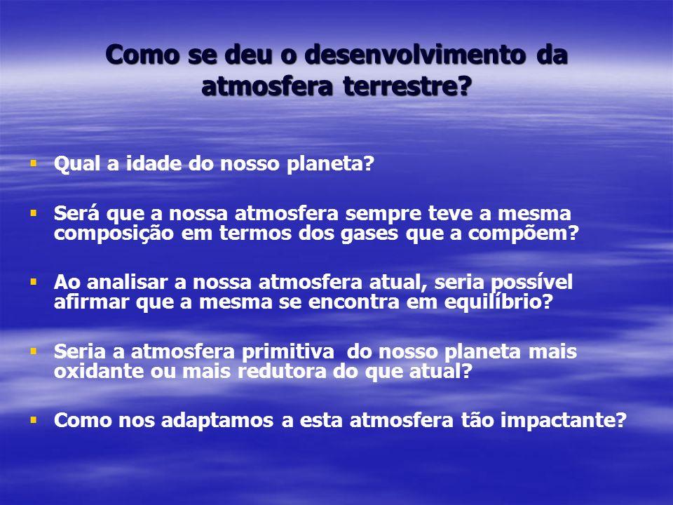 Como se deu o desenvolvimento da atmosfera terrestre? Qual a idade do nosso planeta? Será que a nossa atmosfera sempre teve a mesma composição em term