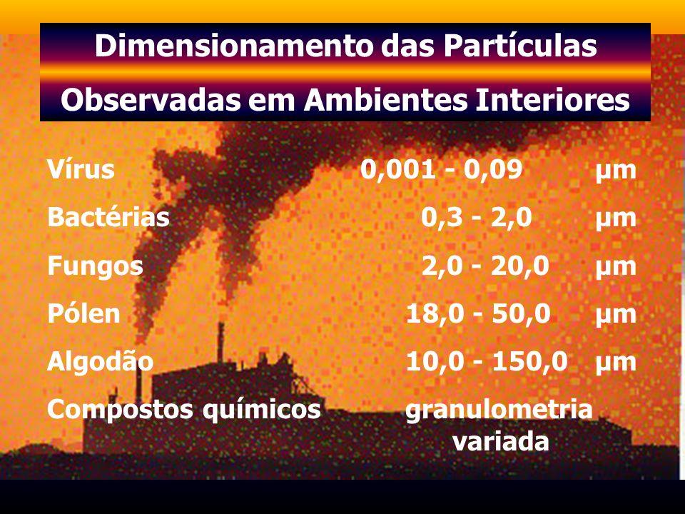 Dimensionamento das Partículas Observadas em Ambientes Interiores Vírus 0,001 - 0,09 µm Bactérias 0,3 - 2,0 µm Fungos 2,0 - 20,0 µm Pólen 18,0 - 50,0