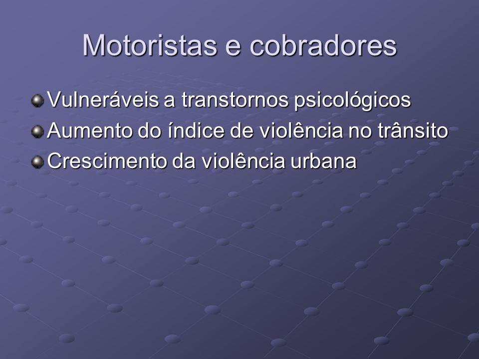 Motoristas e cobradores Vulneráveis a transtornos psicológicos Aumento do índice de violência no trânsito Crescimento da violência urbana