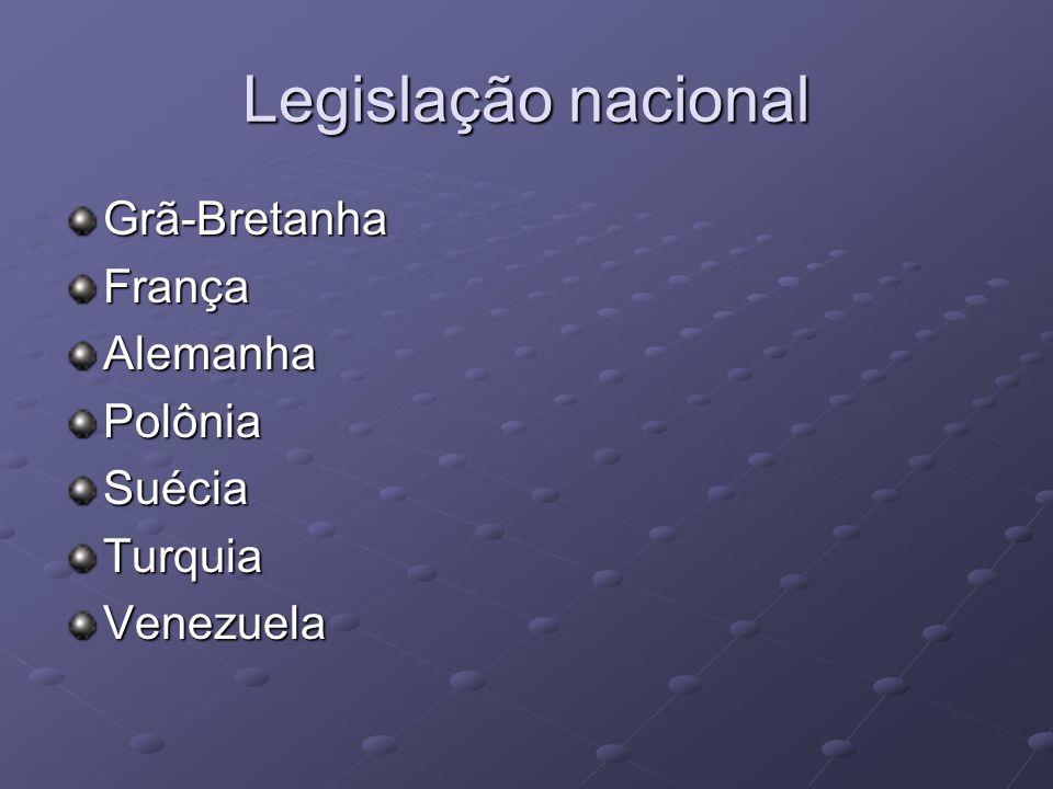 Legislação nacional Grã-BretanhaFrançaAlemanhaPolôniaSuéciaTurquiaVenezuela