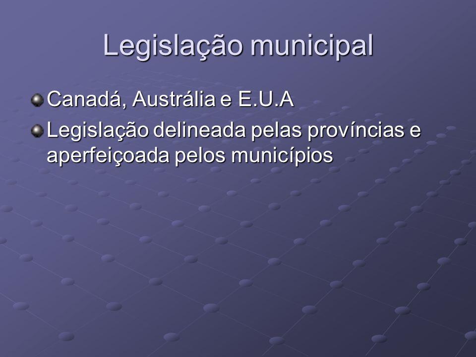 Legislação municipal Canadá, Austrália e E.U.A Legislação delineada pelas províncias e aperfeiçoada pelos municípios