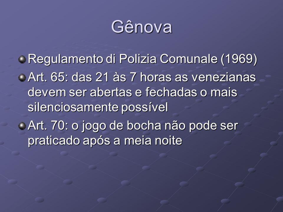 Gênova Regulamento di Polizia Comunale (1969) Art. 65: das 21 às 7 horas as venezianas devem ser abertas e fechadas o mais silenciosamente possível Ar