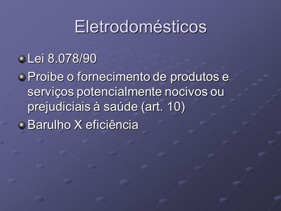 Eletrodomésticos Lei 8.078/90 Proibe o fornecimento de produtos e serviços potencialmente nocivos ou prejudiciais à saúde (art. 10) Barulho X eficiênc