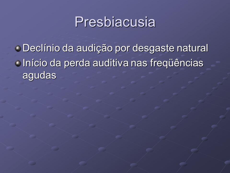 Presbiacusia Declínio da audição por desgaste natural Início da perda auditiva nas freqüências agudas