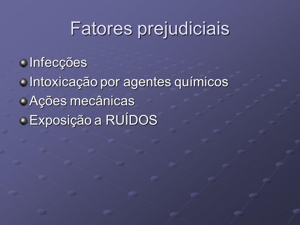 Fatores prejudiciais Infecções Intoxicação por agentes químicos Ações mecânicas Exposição a RUÍDOS