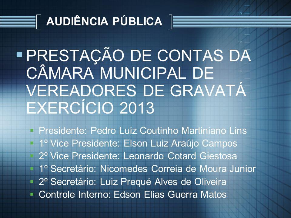 AUDIÊNCIA PÚBLICA P RESTAÇÃO DE CONTAS DA CÂMARA MUNICIPAL DE VEREADORES DE GRAVATÁ EXERCÍCIO 2013 Presidente: Pedro Luiz Coutinho Martiniano Lins 1º