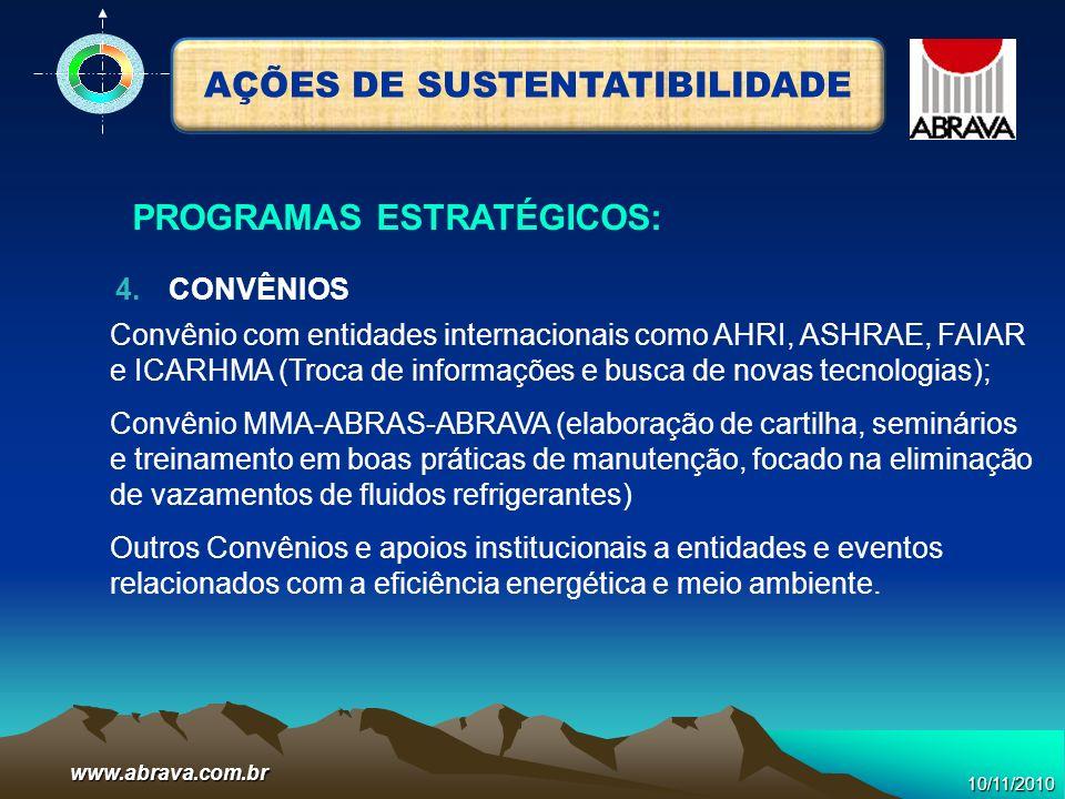 www.abrava.com.br Convênio com entidades internacionais como AHRI, ASHRAE, FAIAR e ICARHMA (Troca de informações e busca de novas tecnologias); Convên