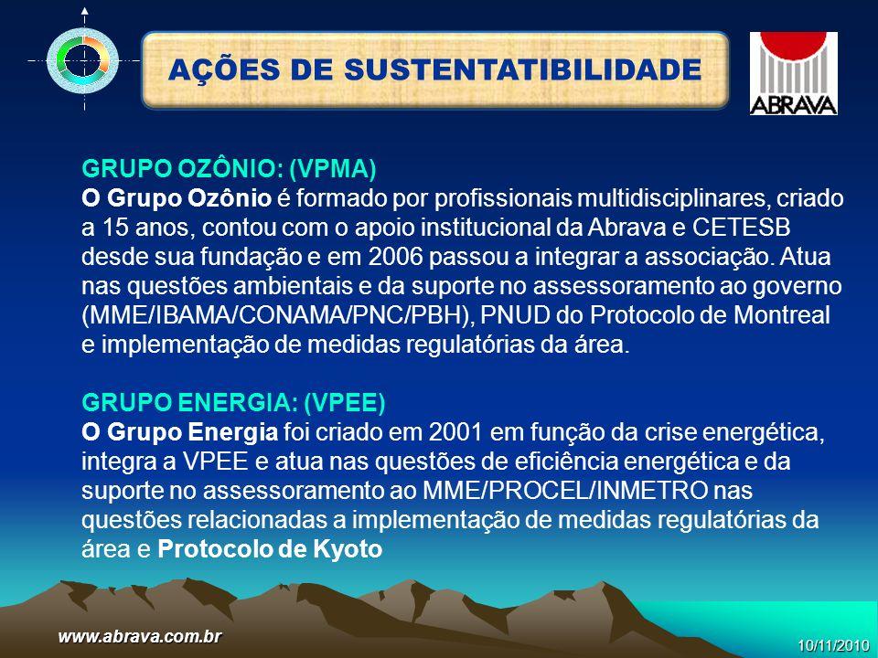 www.abrava.com.br GRUPO OZÔNIO: (VPMA) O Grupo Ozônio é formado por profissionais multidisciplinares, criado a 15 anos, contou com o apoio institucion