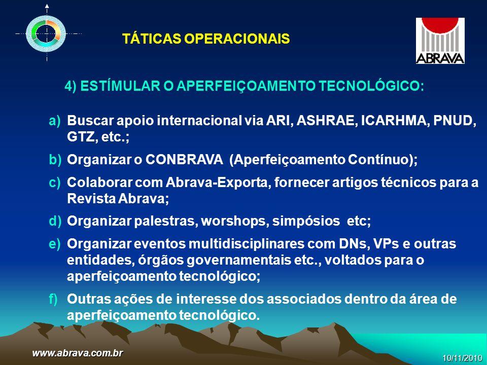 www.abrava.com.br 4) ESTÍMULAR O APERFEIÇOAMENTO TECNOLÓGICO: a)Buscar apoio internacional via ARI, ASHRAE, ICARHMA, PNUD, GTZ, etc.; b)Organizar o CO