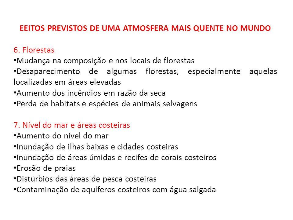EEITOS PREVISTOS DE UMA ATMOSFERA MAIS QUENTE NO MUNDO 6. Florestas Mudança na composição e nos locais de florestas Desaparecimento de algumas florest