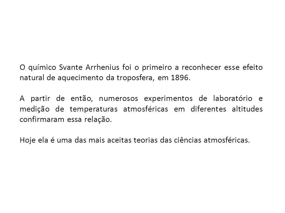 O químico Svante Arrhenius foi o primeiro a reconhecer esse efeito natural de aquecimento da troposfera, em 1896. A partir de então, numerosos experim