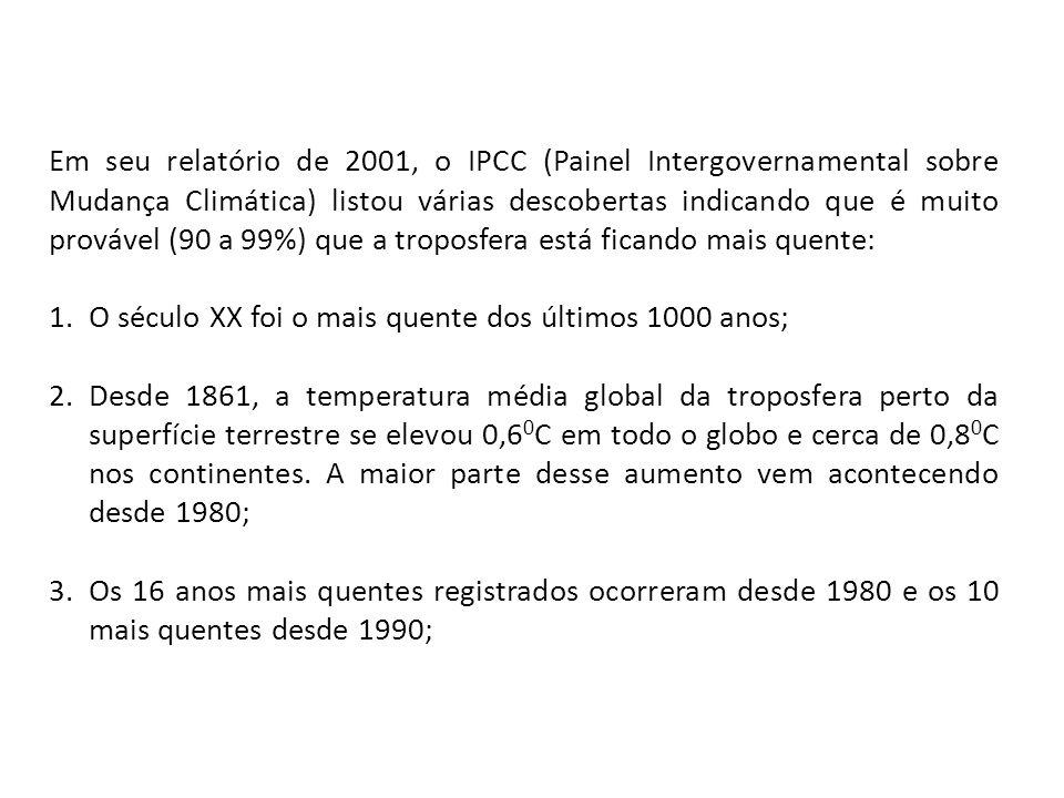 Em seu relatório de 2001, o IPCC (Painel Intergovernamental sobre Mudança Climática) listou várias descobertas indicando que é muito provável (90 a 99