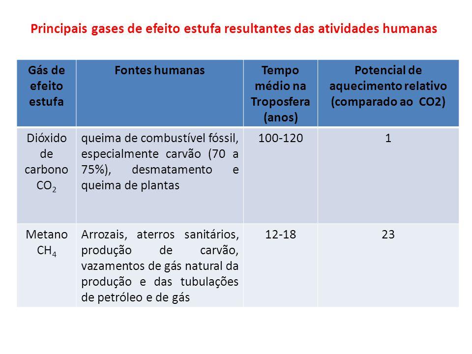 Principais gases de efeito estufa resultantes das atividades humanas Gás de efeito estufa Fontes humanasTempo médio na Troposfera (anos) Potencial de aquecimento relativo (comparado ao CO2) Óxido nitroso N 2 O Queima de combustíveis fósseis, fertilizantes, detritos de animais de estimação 114-120296 Clorofluo rcarbono s CFC´s Aparelhos de ar condicionado, refrigeradores, espumas plásticas 11-20900-8300