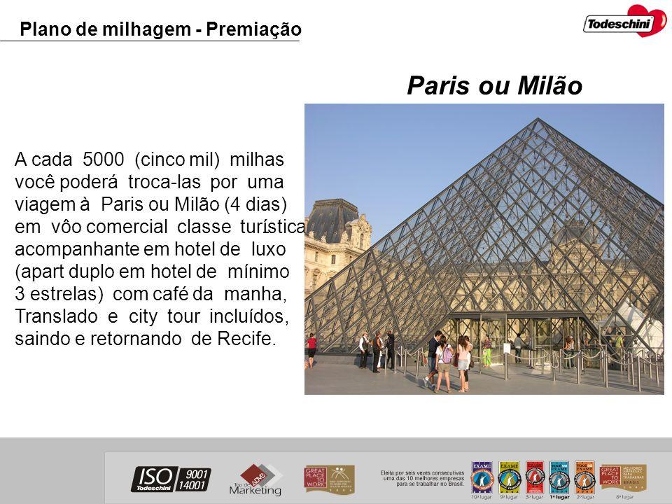 A cada 5000 (cinco mil) milhas você poderá troca-las por uma viagem à Paris ou Milão (4 dias) em vôo comercial classe turística, com acompanhante em h