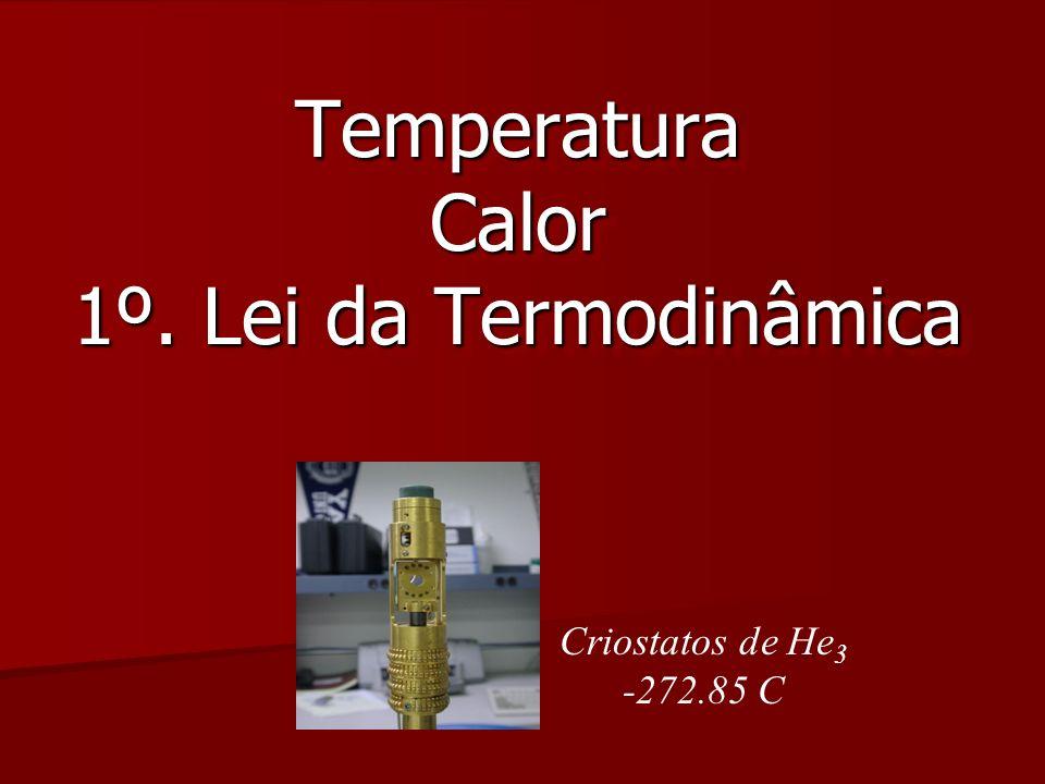 Temperatura Calor 1º. Lei da Termodinâmica Criostatos de He 3 -272.85 C