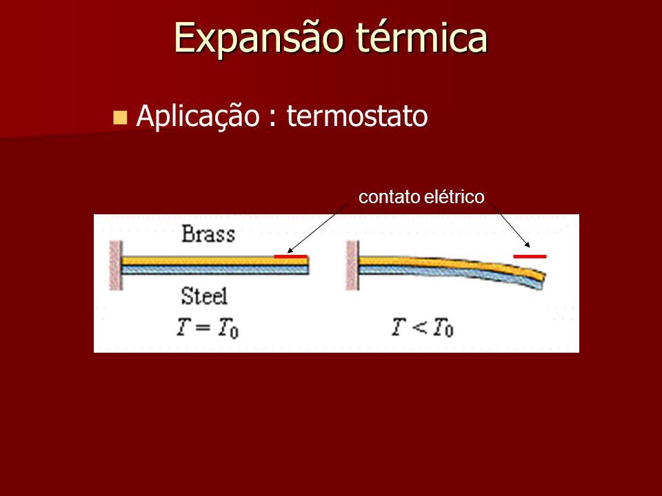 Expansão térmica Aplicação : termostato contato elétrico