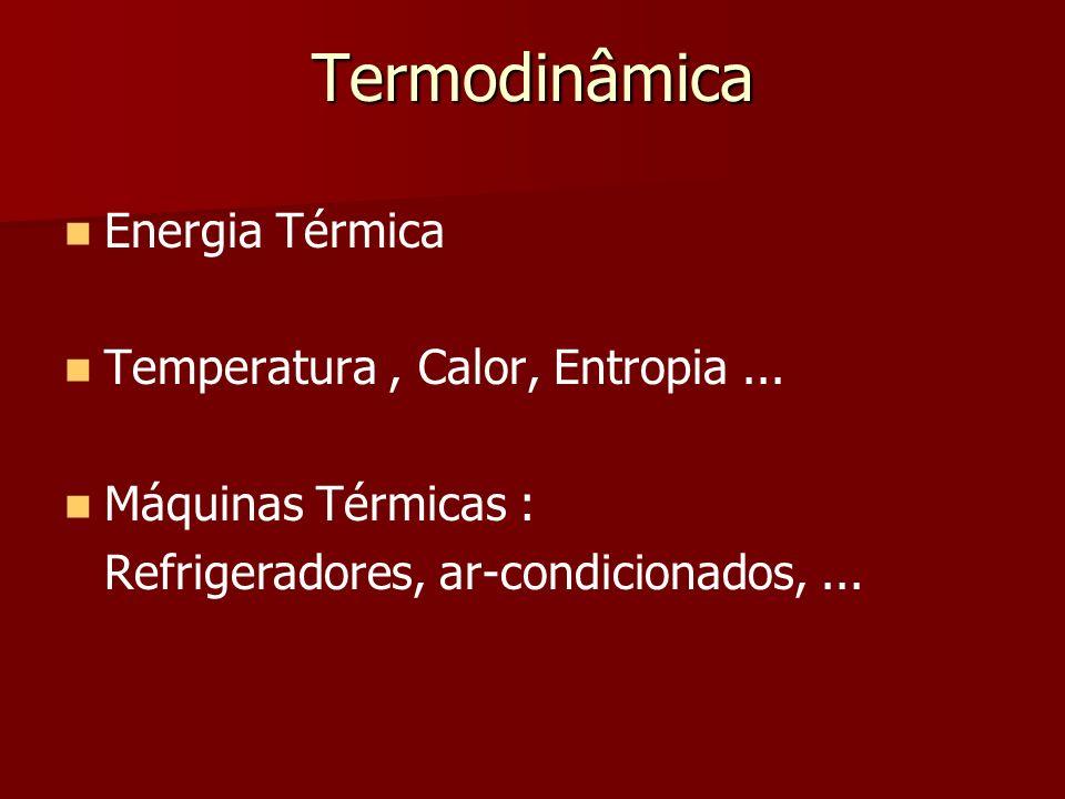 Termodinâmica Energia Térmica Temperatura, Calor, Entropia... Máquinas Térmicas : Refrigeradores, ar-condicionados,...