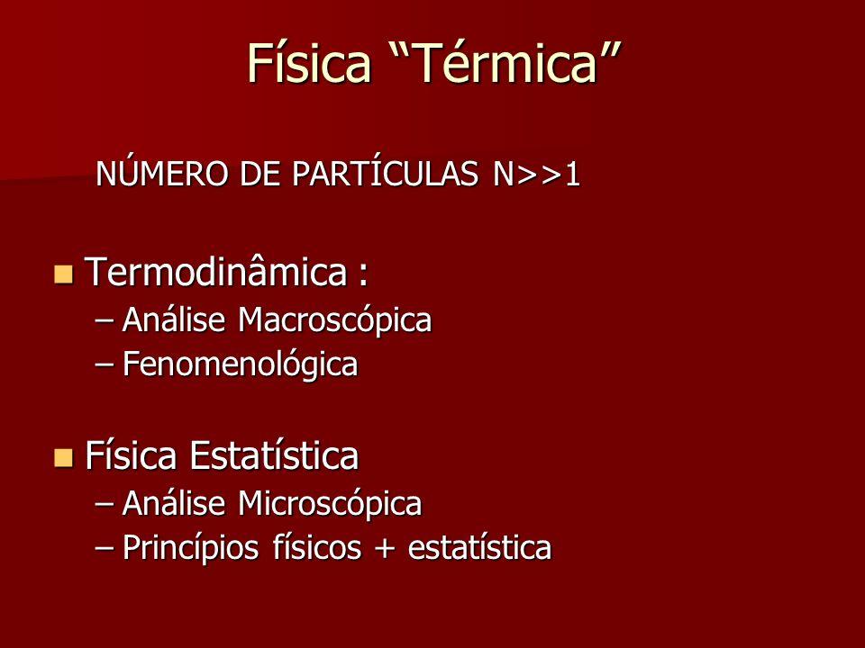 Física Térmica NÚMERO DE PARTÍCULAS N>>1 Termodinâmica : Termodinâmica : –Análise Macroscópica –Fenomenológica Física Estatística Física Estatística –
