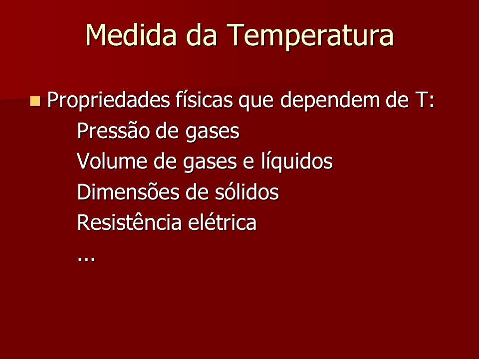 Medida da Temperatura Propriedades físicas que dependem de T: Propriedades físicas que dependem de T: Pressão de gases Volume de gases e líquidos Dime