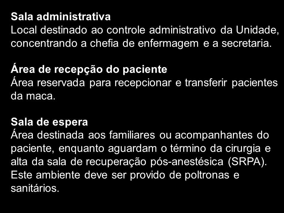Sala administrativa Local destinado ao controle administrativo da Unidade, concentrando a chefia de enfermagem e a secretaria. Área de recepção do pac