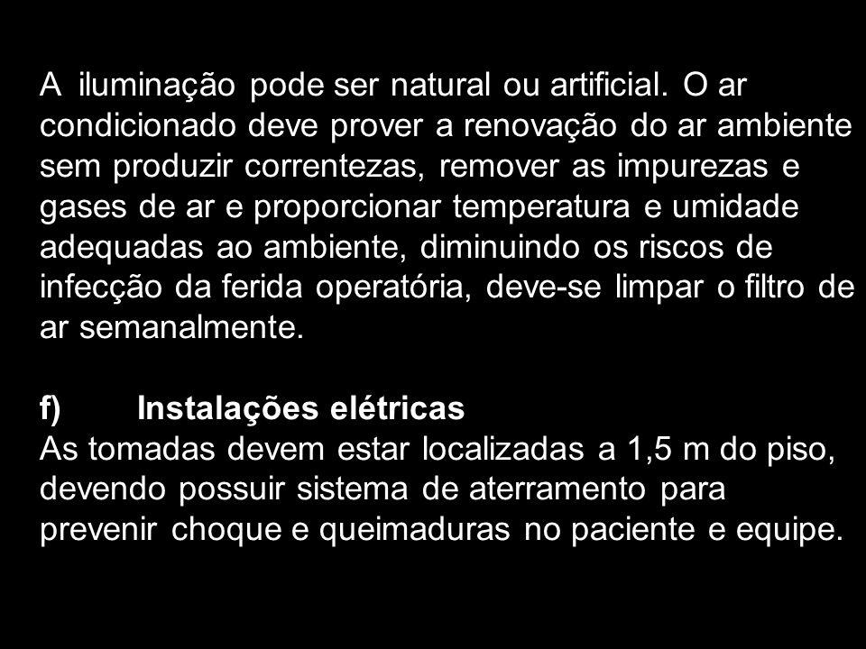 A iluminação pode ser natural ou artificial. O ar condicionado deve prover a renovação do ar ambiente sem produzir correntezas, remover as impurezas e