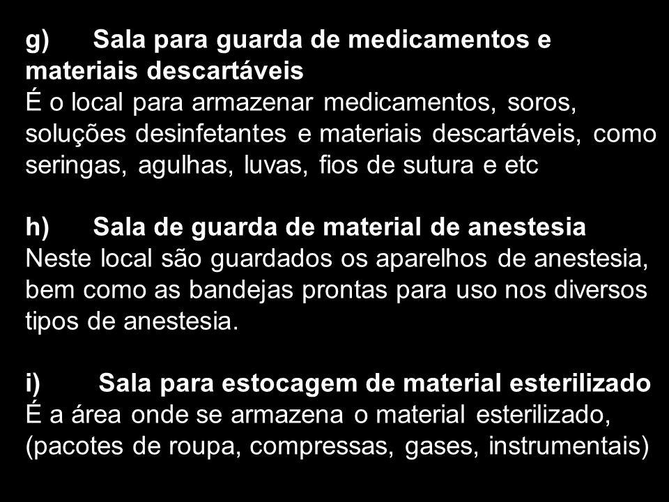 g) Sala para guarda de medicamentos e materiais descartáveis É o local para armazenar medicamentos, soros, soluções desinfetantes e materiais descartá