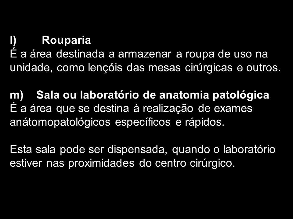 l) Rouparia É a área destinada a armazenar a roupa de uso na unidade, como lençóis das mesas cirúrgicas e outros. m) Sala ou laboratório de anatomia p