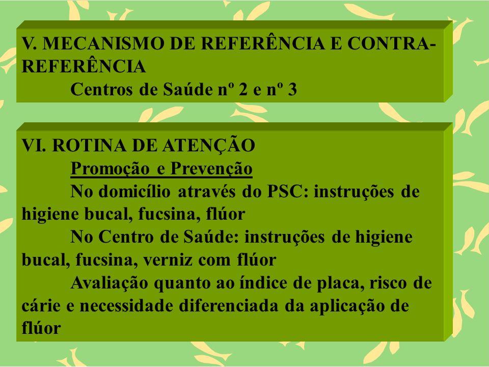 V. MECANISMO DE REFERÊNCIA E CONTRA- REFERÊNCIA Centros de Saúde nº 2 e nº 3 VI. ROTINA DE ATENÇÃO Promoção e Prevenção No domicílio através do PSC: i