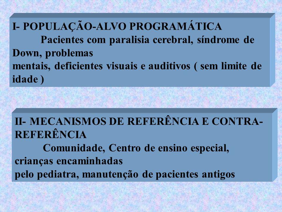 I- POPULAÇÃO-ALVO PROGRAMÁTICA Pacientes com paralisia cerebral, síndrome de Down, problemas mentais, deficientes visuais e auditivos ( sem limite de