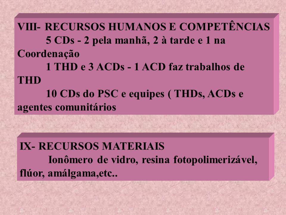 VIII- RECURSOS HUMANOS E COMPETÊNCIAS 5 CDs - 2 pela manhã, 2 à tarde e 1 na Coordenação 1 THD e 3 ACDs - 1 ACD faz trabalhos de THD 10 CDs do PSC e e