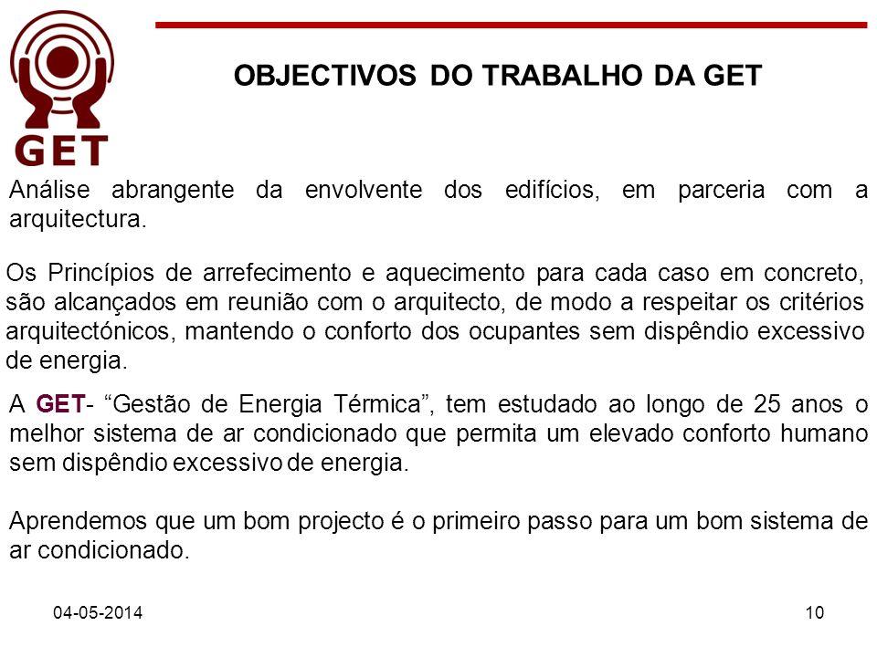 04-05-201410 Análise abrangente da envolvente dos edifícios, em parceria com a arquitectura. A GET- Gestão de Energia Térmica, tem estudado ao longo d