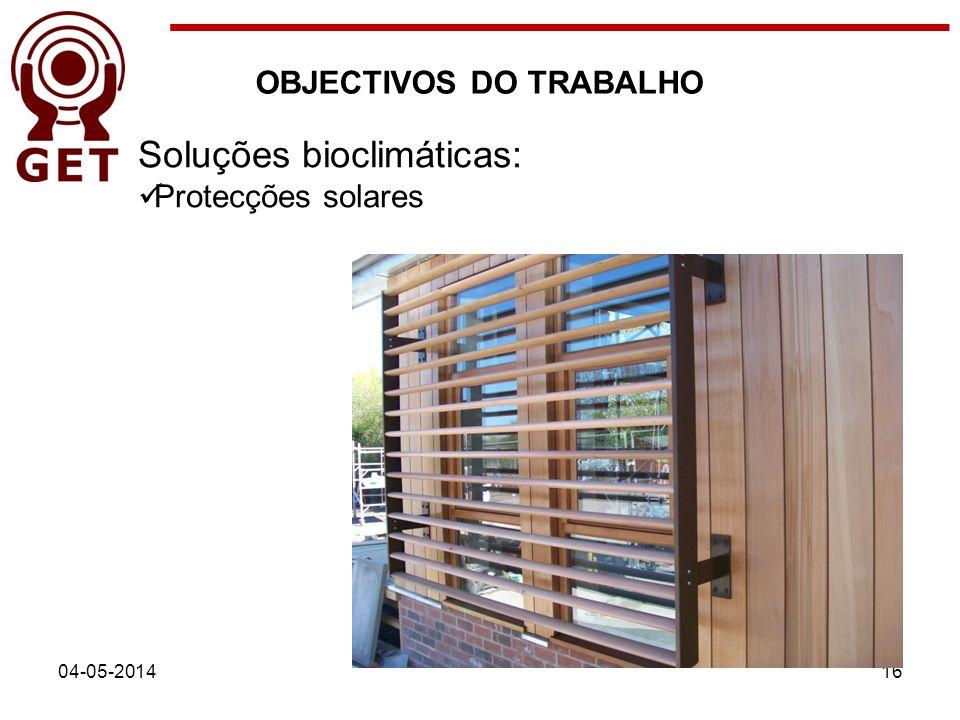 04-05-201416 OBJECTIVOS DO TRABALHO Soluções bioclimáticas: Protecções solares