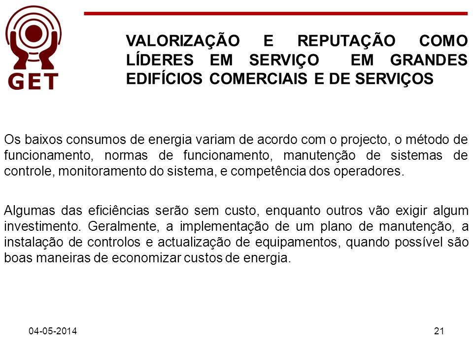 04-05-201421 VALORIZAÇÃO E REPUTAÇÃO COMO LÍDERES EM SERVIÇO EM GRANDES EDIFÍCIOS COMERCIAIS E DE SERVIÇOS Os baixos consumos de energia variam de aco
