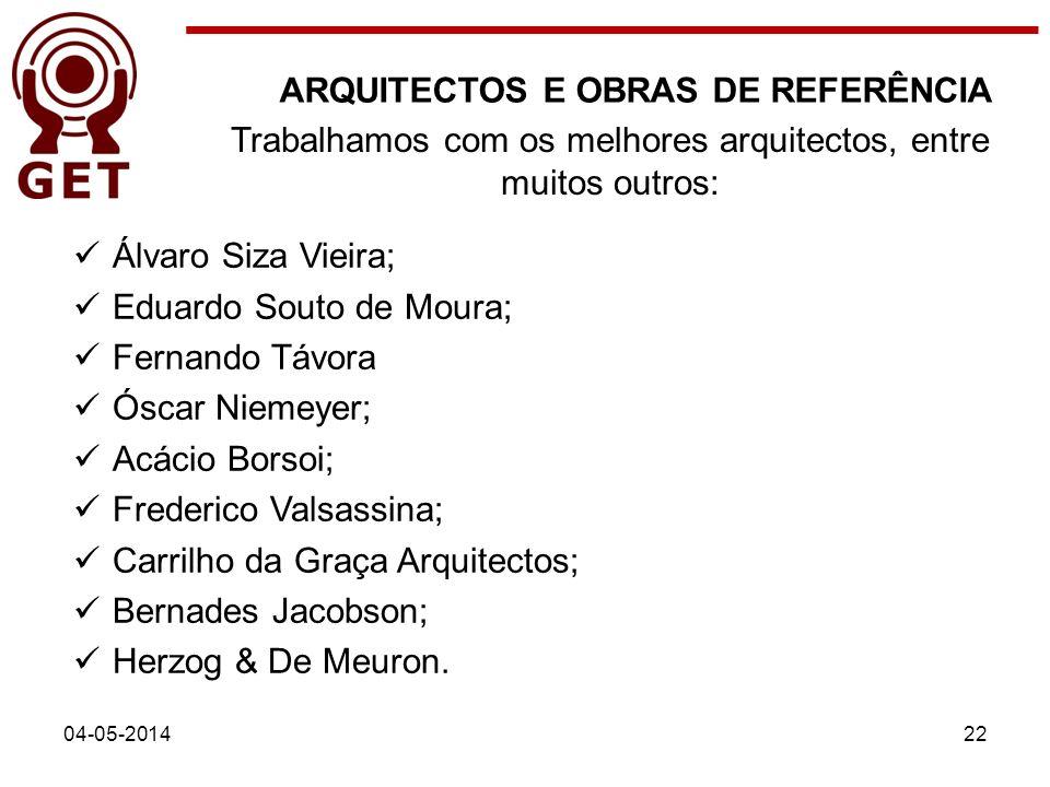 04-05-201422 Trabalhamos com os melhores arquitectos, entre muitos outros: ARQUITECTOS E OBRAS DE REFERÊNCIA Álvaro Siza Vieira; Eduardo Souto de Mour