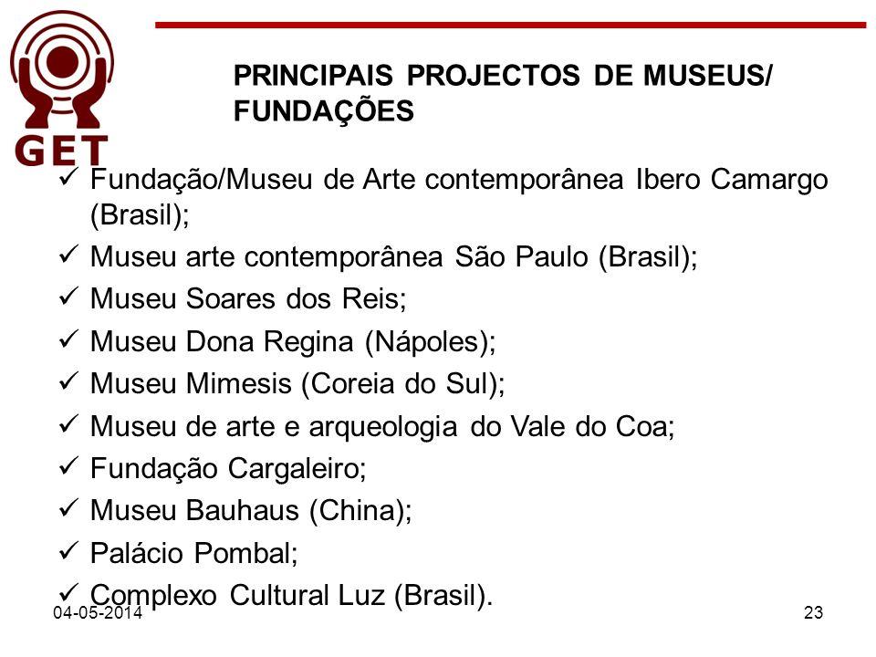 04-05-201423 PRINCIPAIS PROJECTOS DE MUSEUS/ FUNDAÇÕES Fundação/Museu de Arte contemporânea Ibero Camargo (Brasil); Museu arte contemporânea São Paulo