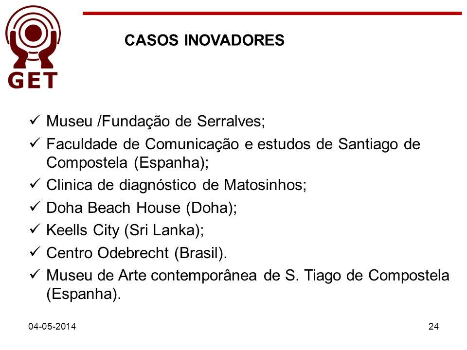 04-05-201424 CASOS INOVADORES Museu /Fundação de Serralves; Faculdade de Comunicação e estudos de Santiago de Compostela (Espanha); Clinica de diagnós