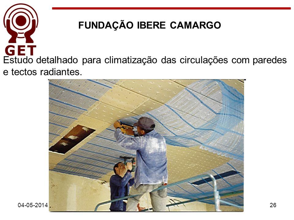 04-05-201426 FUNDAÇÃO IBERE CAMARGO Estudo detalhado para climatização das circulações com paredes e tectos radiantes.