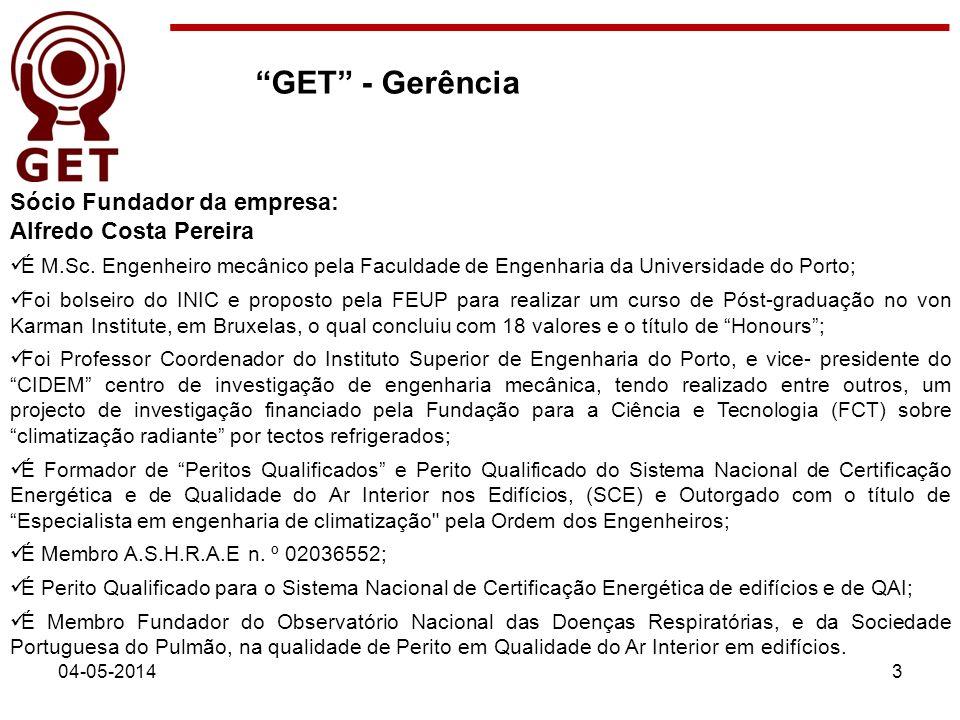 04-05-20143 Sócio Fundador da empresa: Alfredo Costa Pereira É M.Sc. Engenheiro mecânico pela Faculdade de Engenharia da Universidade do Porto; Foi bo