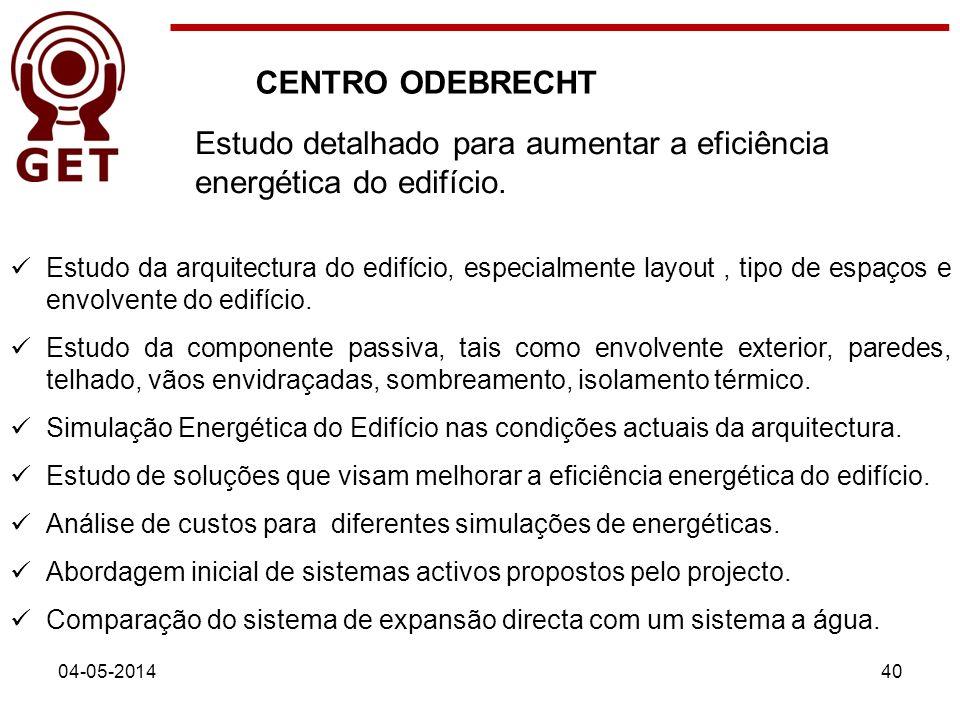 Estudo da arquitectura do edifício, especialmente layout, tipo de espaços e envolvente do edifício. Estudo da componente passiva, tais como envolvente