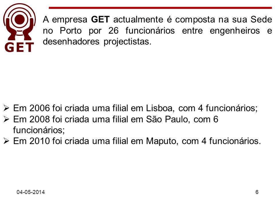 04-05-20146 A empresa GET actualmente é composta na sua Sede no Porto por 26 funcionários entre engenheiros e desenhadores projectistas. Em 2006 foi c