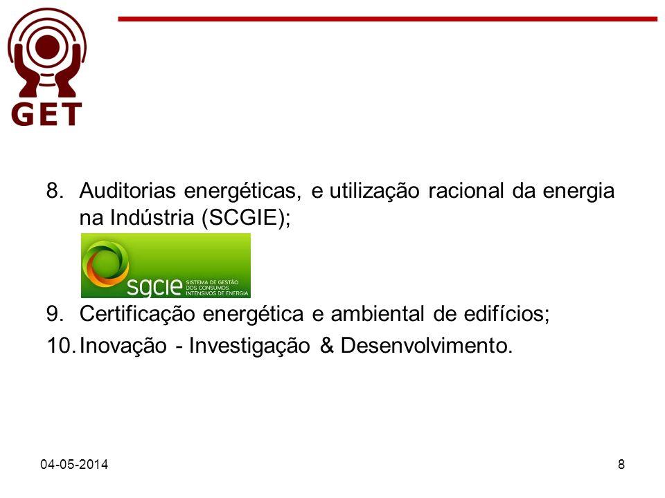 04-05-20148 8.Auditorias energéticas, e utilização racional da energia na Indústria (SCGIE); 9.Certificação energética e ambiental de edifícios; 10.In