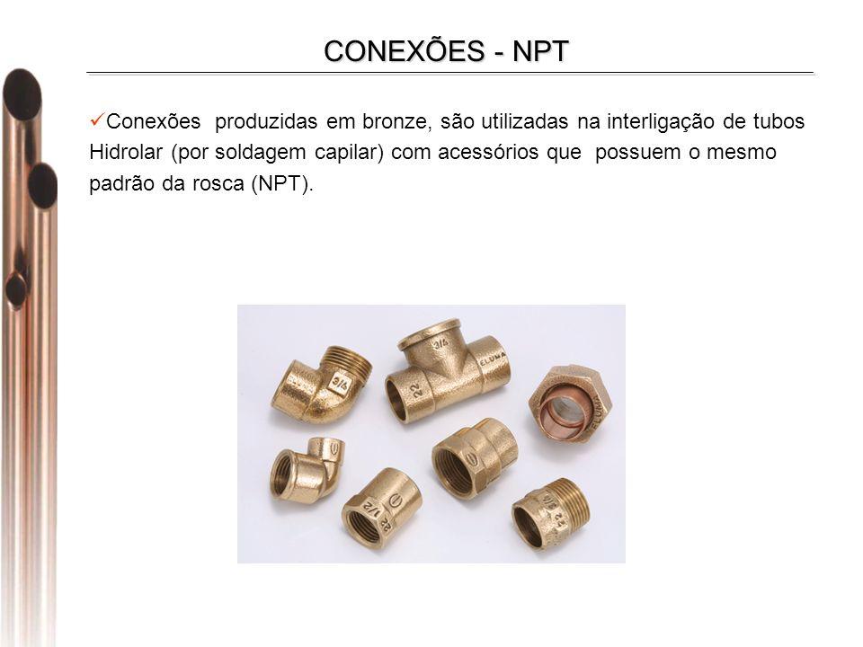 Conexões produzidas em bronze, são utilizadas na interligação de tubos Hidrolar (por soldagem capilar) com acessórios que possuem o mesmo padrão da rosca (NPT).